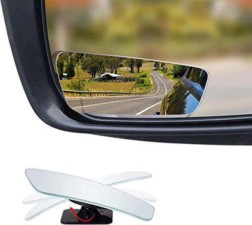2-Pack Dependable Direct Blind Spot Mirror for Car - Rectangle Shaped - Universal Fit, HD, Stick on, Frameless, Convex, Wide Angle, Rear View Mirror