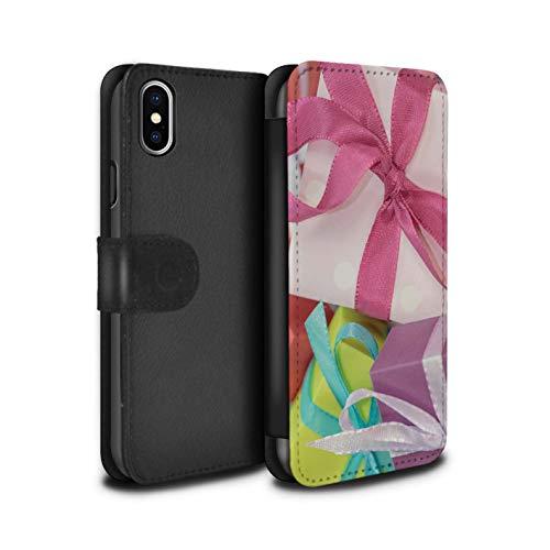 Stuff4 Telefoonhoesje Portemonnee voor Apple iPhone XS Max Kerstmis Foto Roze Present Ontwerp Flip Faux PU Lederen Cover