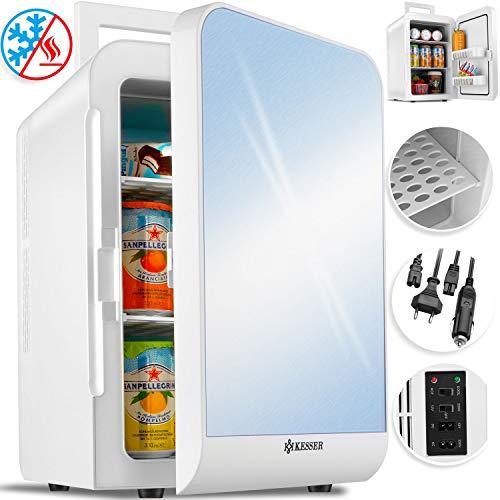 Kesser® 2in1 Mini Kühlschrank 20 Liter | mit Kühl- und Heizfunktion | 60Watt | Tragegriff | Steckdose und am Zigarettenanzünder | 12 Volt Kabel | anschließbar | Warmhaltebox | Mini-Thermobox Weiß