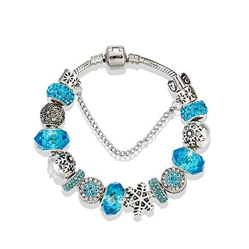 Delicate girl-shouzhuo Schneeflocke Blau Kristall Armbänder Armreifen Antik Silber Farbe Armband Für Hochzeit