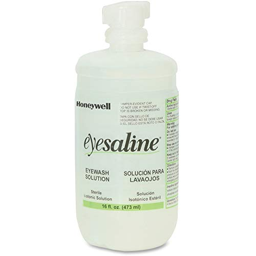 Honeywell Personal 16 oz. (473 ml) Trilingual Sterile Saline Eye Wash Bottle with Extended Flow Nozzle - 32-000454-0000-H5