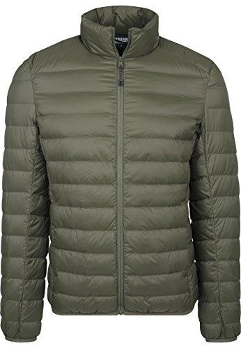 Urban Classics Herren Daunenjacke Basic Down Jacket, gefütterte Steppjacke für Herbst und Winter, praktisch verstaubar in mitgelieferter Tasche - darkolive, Größe M