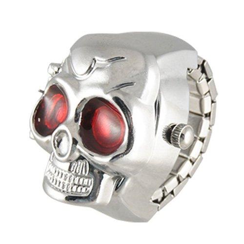 TOOGOO (R) Rot Augen-Schaedel-Entwurf Band-Quarz-Ring-Uhr
