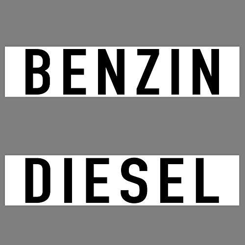 2 Aufkleber 20cm Sticker 1x Diesel + 1x Benzin Auto Fahrzeug Kraftstoff Tank Kanister Deko Hinweis