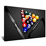 Biuteawal - Sport Canvas Wall Art Playing Pool Table Billiard Balls Picture Giclee Prints Snooker Painting for Home Game Room Club Bar Wall Decoration