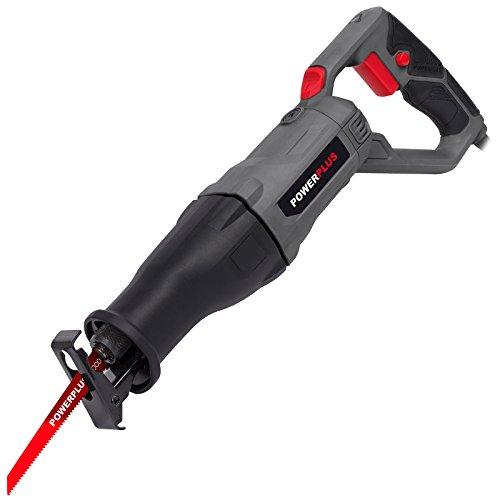 Powerplus powe30030710W Black, Grey, Red Sabre Saw–Akkusäbelsäge (710W, 90mm, 470mm, 220mm, 2.98kg)