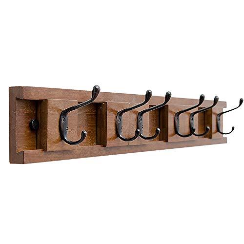 Perchero de pared decoración Pared rústica Perchero con colgar los ganchos, uso como escudo rack, Sombrero Organizador, titular de la clave Inicio Restaurante Cafetería ( Color : Brown , Size : 6 )