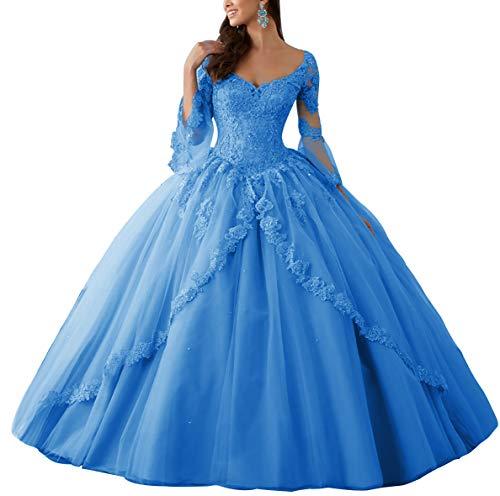 HUINI Ballkleider Lang Spitze Brautkleider Langarm Quinceanera Kleider Prinzessin V-Ausschnitt Hochzeitskleider Blau 54