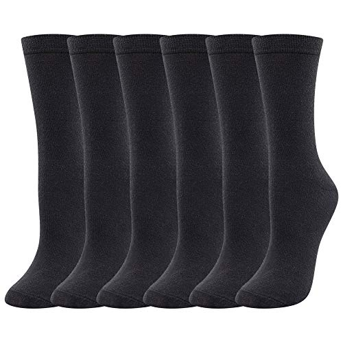 Womens Merino Wool Dress Socks Laides Autumn Winter Warm Classic Business Socks Breathable Sweat wicking Casual Lightweight Wool Socks for Women 3 Pairs Black