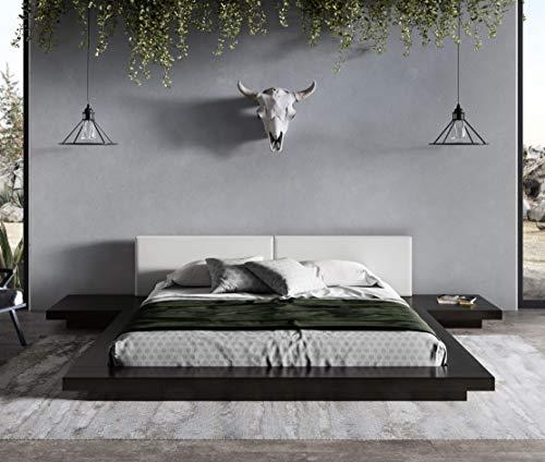 Limari Home Albina Collection Modern Style Bedroom Wenge Veneer Finished Leatherette Upholstered Platform Low Profile Bed, Eastern King, Black, White