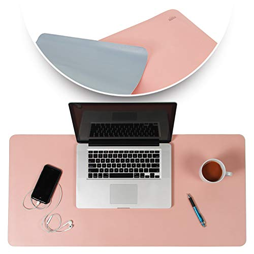 Desk Mat Pink & Blue 17x36 - Computer, Laptop, Keyboard & Mouse Pad Organizer - Leather Cover Office Table Protector - Double Side Gaming Surface with Colors - Typing & Writing Accessories