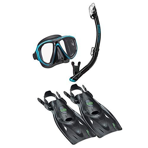 TUSA Sport Adult Powerview Mask Dry Snorkel and Fins Travel Set Medium Black/Ocean Green