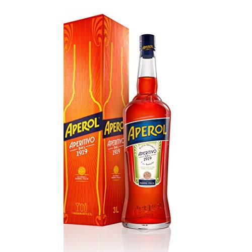 Aperol Aperitivo Alcolico a Base di Erbe, Radici e Arance Dolci e Amare, 11% Vol, Bottiglia Magnum in Vetro da 3 L