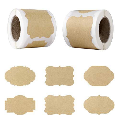 Etiquetas Adhesiva de Regalo Pegatinas de Regalo Etiquetas Adhesivas de Papel Kraft para Regalo de Navidad, Botellas de Vidrio 300 Piezas 6 Diseños