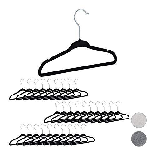 relaxdays 10026485_1004 enfants, set 30 velours, Cintres bébé décoratif chemises antidérapant crochet rotatif, noir, métal, 18 x 28 x,5 cm