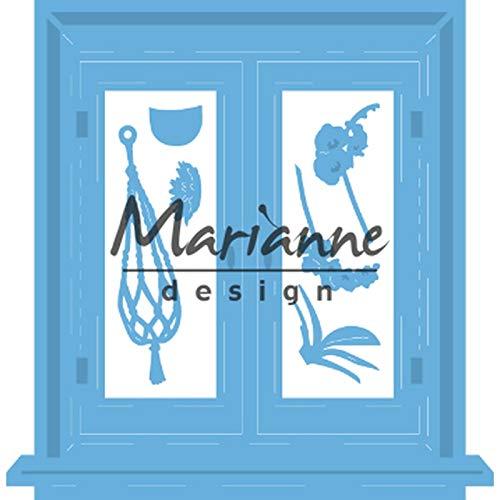 Marianne Design LR0583 Plantillas Corte y Embossing, Ventana, para Proyectos Manualidades de Papel Creatables Präge-und Stanzschablone, Fenster, für Handwerksprojekte, Metall, Rosa, 0