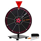 T-SIGN 12 Inch Heavy Duty Spinning Prize Wheel, 10 Slots Tabletop Prize Wheel Spinner, 2 D...