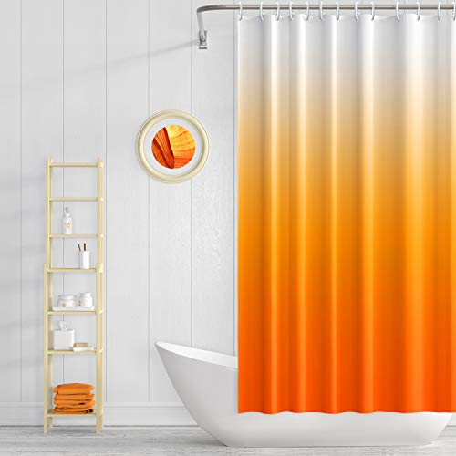 H HOMEWINS Waterproof Shower Curtain with 12 Curtain Rings,Water Repellent Fabric Shower Curtain or Liner,72 X 72 inch-Orange