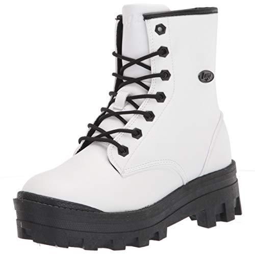 Lugz Women's Dutch Classic 6-inch Chukka Fashion Boot Combat, White/Black, 7