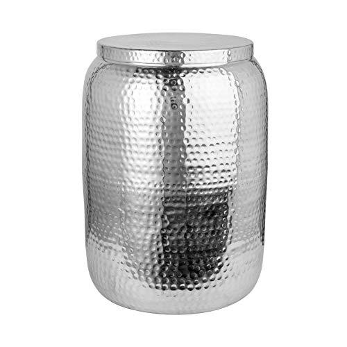 riess-ambiente.de Handgefertigter Beistelltisch Orient Storage 48cm Silber Hammerschlag Design mit Stauraum Wohnzimmertisch Tisch