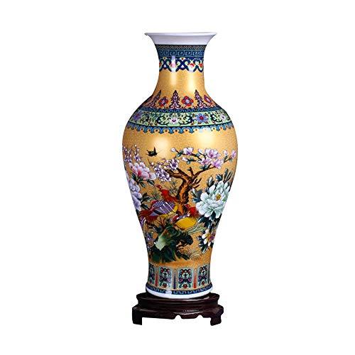 ufengke Jingdezhen Große Fishtail Keramik Bodenvase,Blumenvase,Handgefertigte Dekorative Vase für Hause,Höhe 18.11