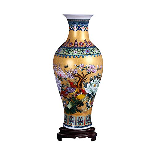 "ufengke Jingdezhen Large Fishtail Ceramic Floor Vase,Flower Vase Handmade Home Decorative Vase,Height 18.11""(46cm),Golden"