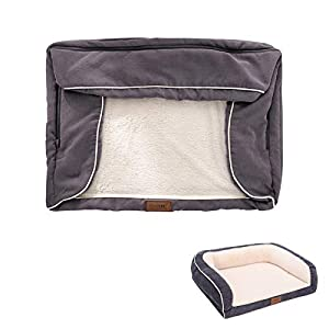EMME Dog Bed for Small, Medium and Large Dogs Orthopedic Dog Beds with Plush Foam Mattress Joint Relief Washable & Removable Cover Deluxe Dog Couch Sofa Style Pet Bed