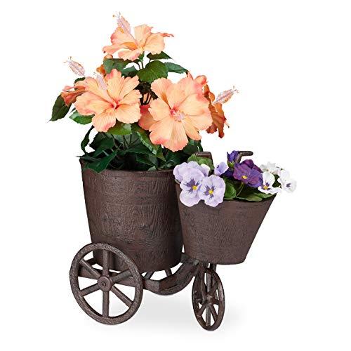 Relaxdays Gartendeko Fahrrad, 2 Übertöpfe, zum Bepflanzen, Gusseisen Dreirad, Blumen Fahrrad HBT: 26 x 18 x 32 cm, braun