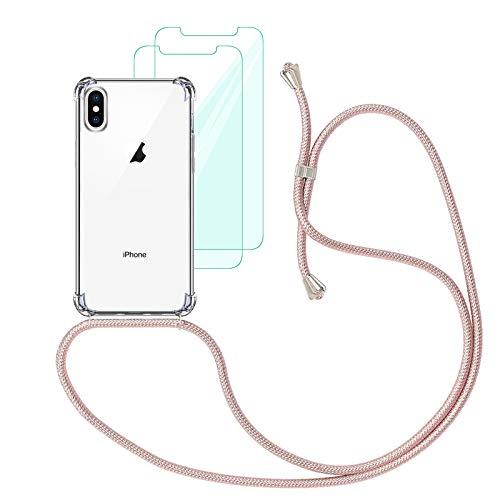 Yohii Funda con Cuerda Compatible con iPhone X/XS y [2 Pack] Cristal Templado Protector de Pantalla, Carcasa Transparente TPU Suave Silicon Colgante Ajustable Collar - Oro Rosa