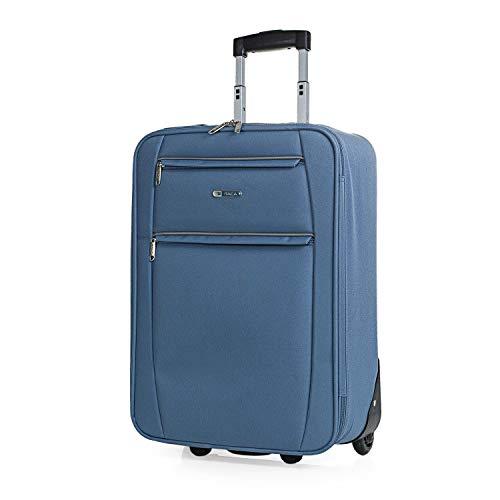 ITACA - Maleta Cabina de Viaje 2 Ruedas Trolley 55 cm de Poliéster EVA. Equipaje de Mano. Pequeña Semirígida Resistente Cómoda y Ligera. Blanda. Calidad T71950, Color Azul Vaquero