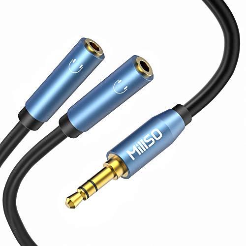 MillSO Audio Klinke Y Adapter 3,5 mm Kopfhörer Splitter Kabel - 3-polig Stereo Klinkenstecker zu 2X 3,5mm Buchse für Headset, Lautsprecher, Handys und Tablet -30CM