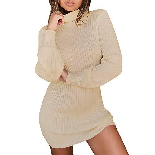 UJUNAOR Damen Rollkragenpullover Langarm Pullover Kleid Herbst Winter Casual Solide Sweatshirt(Khaki,EU M/CN L)