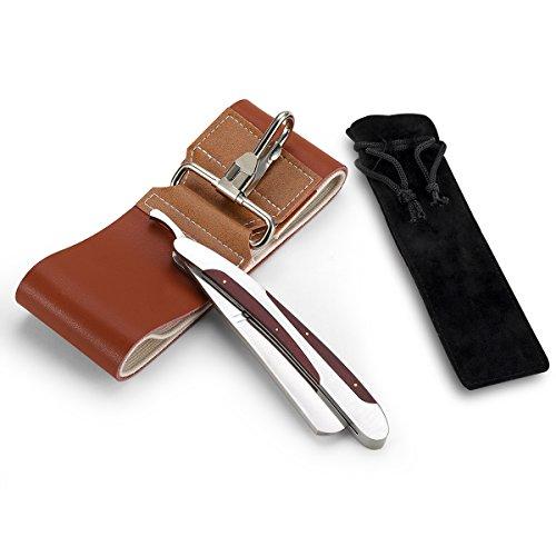 LUWANZ Klapp Rasiermesser aus Edelstahl & Streichriemen & Rasiermesser Etui Abbildung 2