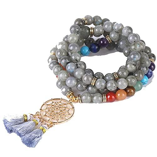 108 Mala Beads 8MM Pulsera de piedra natural Atrapasueños Borla Charm Pulsera Chakra Longitud de la cadena 91CM