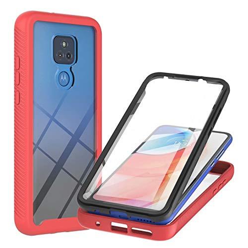 Lijc Compatible con Funda Motorola Moto G Play 2021 Incorporado Pet Protector de Pantalla 360° Cuerpo Completo Armadura Delgada Caso Híbrido Flexible Silicona TPU y Hard PC Anti-Shock Cubierta-Rojo
