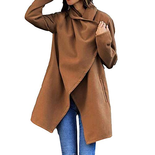 OSYARD Damen Umlegekragen Trenchcoat Winterjacke Windmantel Übergangsmantel Lange Jacke Einfarbig Outwear, Frauen Herbst Hohe Qualität Woolen Tasche Winter Wollmantel