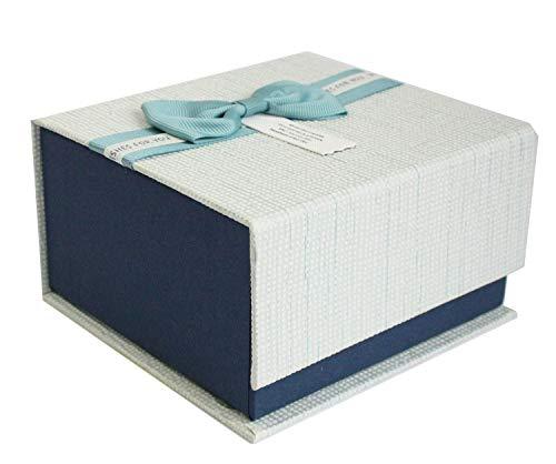 Emartbuy Lusso Rigido Scatola Regalo Con Presentazione Magnetica Rettangolare, Scatola Blu Scuro Con Coperchio Testurizzato, Fiocco in Nastro e Interni Color Cioccolato
