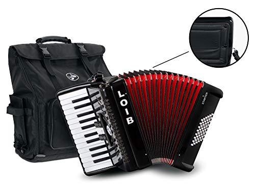 Loib Starter II 48 BK - 48 Bass Akkordeon mit 2 Chören - Inklusive Riemen, Rucksack-Tasche und Balgschoner - Schülerakkordeon mit nur 6,1 kg Gewicht - Schwarz