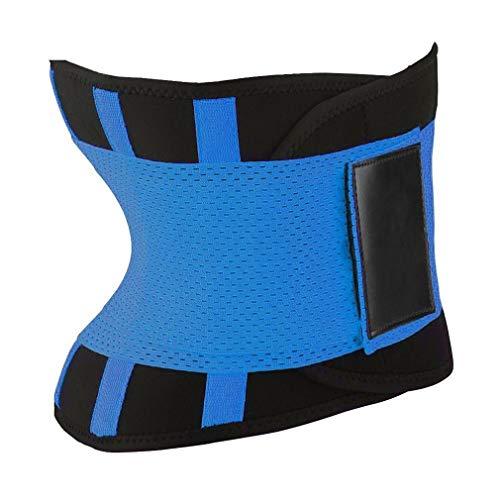 Mannen vrouwen sport riem buik afslanken body shaper cincher rits taille cincher corset trainer zweet taille cincher riem (blauw)
