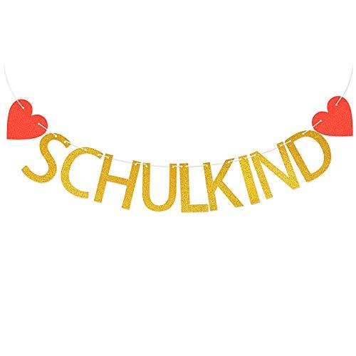 MEJOSER Schulkind Girlande Banner Wimpel Hänge Deko für Schuleinführung Einschulung Schulanfang DekoBanner Schule Junge Mädchen Gold mit Herzen