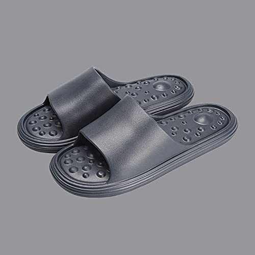 ZZLHHD Chanclas de Masaje,Foot Acupuncture Massage Slippers, Bathing Anti-Slip Couple-Deep Gray / Male_44/45,Sandalias De Reflexología Terapéutica