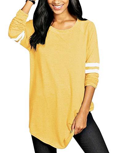 VONDA Langarmshirt Damen Oberteile Basic Casual Locker Baseball Longshirt Oversize Farbblock Shirt Pullover Tunika A-Gelb 5XL