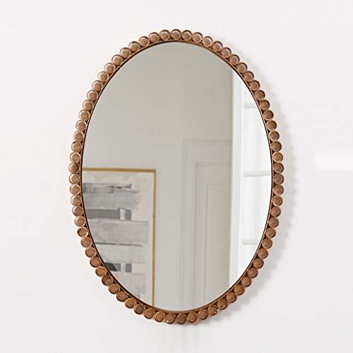 Spiegel Runder Metall Material + Glas Bodenplatte, Zwei Stile zur Auswahl, Home Badezimmerspiegel/Beauty Salon Kosmetikspiegel/Flur Wandspiegel