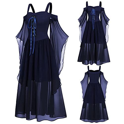 Aobliss Womne Vestido medieval fro con mangas de mariposa con cordones para Halloween vestido gtico, 6-marine, XL