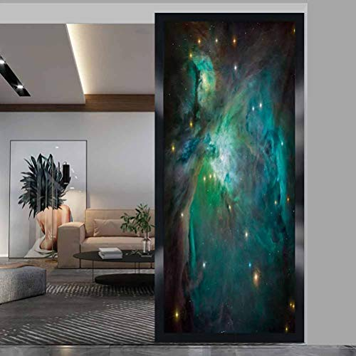 W 23.6' x L 78.7' Privacy Decorative Window Stickers Home Office Glass Door Sticker,Space,Majestic Orion Nebula Dust Cloud Celestial Energy Plasma Astronomical Object Picture,Teal Green