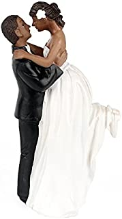 LingStar African American Romance Wedding Anniversary Cake Toppers Couple Happy Bride and Groom