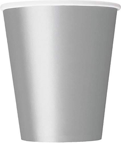 Unique Party Pappbecher,silber, 270 ml,8er Packung