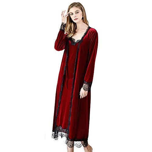 Damen Nachtwäsche Nachthemd Knit V Ausschnitt Kimono Roben Khan gedämpft Bademantel Yukata Gold Samt Nachthemd Pyjama Herbst und Winter Damen Lang Spitze Besatz Strapse Split Nachthemd Weinrot XL