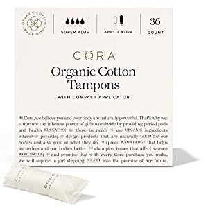 Cora Organic Cotton Tampons with Compact Applicator - Super Plus