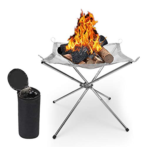 Zhichengbosi Portable Fire Pit 16.5 Inch Stainless Steel Outdoor Camping BBQ Mesh Fire Pit, Silver Folding Campsite Burning Fireplace for Outside, Garden, Patio(2020 Upgrade)